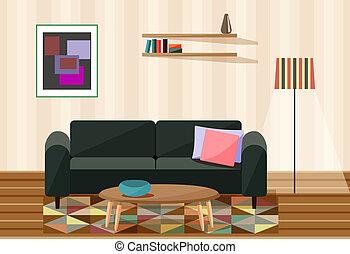 Vector Illustration , Wohnzimmer.