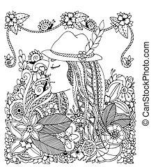 Vector Illustration Zen Tangle Mädchen in Hut und Blumen. Doodle Zeichnung. Farben gegen Stress für Erwachsene. Schwarzweiß.