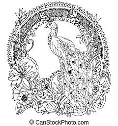Vector Illustration zen tangle, Pfau und Blumen. Doodle Zeichnung. Farbenbuch Anti Stress für Erwachsene. Schwarzweiß.