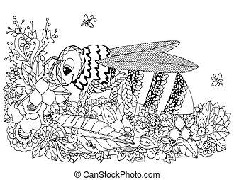 Vector Illustration zen tangle, Wespe und Blumen. Doodle Zeichnung. Farbenbuch Anti Stress für Erwachsene. Schwarzweiß.