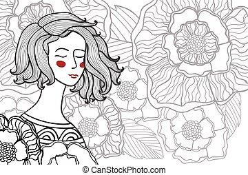 Vector Illustration zentangl, Doodle Portrait von Frau, Mädchen in einer Blumen.