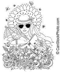 Vector Illustration zentangl, Doodle Portrait von Frau, Mädchen in einer Blumenhülse. Sommer, Sonnenbrille, Sonnenschirm, Sonnenblume. Farbenbuch Anti Stress für Erwachsene. Schwarzweiß.