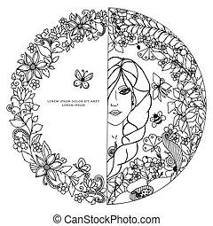 Vector Illustration zentangl Frau in einem runden Rahmen mit Blumen. Das Mädchen, Kreis, Doodle-Porträts zenart Bienen, Schmetterling. Farben für erwachsene Antistress. Schwarz und weiß. Erwachsene Farbbücher.