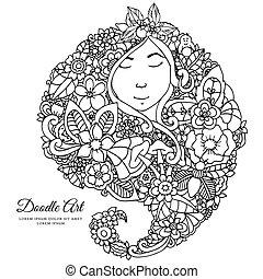 Vector Illustration zentangl Mädchen mit Blumen in ihrem Haar. Doodle Zeichnung. Eine meditative Übung. Farbenbuch Anti Stress für Erwachsene. Schwarzweiß.