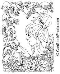 Vector Illustration zentangl Mädchen mit Sommersprossen betrachtet Ladybug in einer Blume. Doodle Rahmen Blume, Garten, Wald, Frühling. Farbenbuch Anti Stress für Erwachsene. Schwarzweiß.