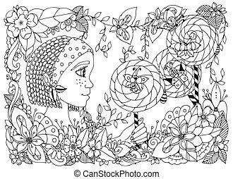 Vector Illustration zentangl Mädchen mit Sommersprossen mit Lutscher. Doodle Rahmenblüte, Schmetterlingsgarten, afrikanische Zöpfe. Farbenbuch Anti Stress für Erwachsene. Schwarzweiß.