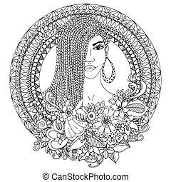 Vector Illustration zentangl, mulatto woman with braids African in the floral round frame. Doodle. Farbenbuch Anti Stress für Erwachsene. Schwarzweiß.