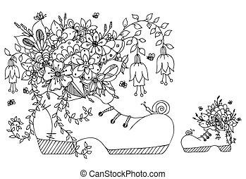 Vector Illustration zentangl Schuh mit Blumen. Doodles Art Frühling Blüten, Sommer, Schmetterling, Schnürsenkel. Farbenbuch Anti Stress für Erwachsene. Schwarzweiß.