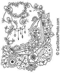 Vector Illustration zentnagl, Blumenrahmen. Doodle Zeichnung. Farbenbuch Anti Stress für Erwachsene. Schwarz und weiß.