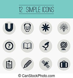 Vector Illustrationen von einfachen Lern-Icons. Elemente abfragen, Globus, Temperaturmessung und andere Synonyme Erde, Geographie und Schnee.