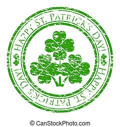 Vector illustrator eines grunge Gummistempels mit vier Blätter Klee und Text (Happy St. Patrick's day written inside the stamp) isoliert auf weißem Hintergrund