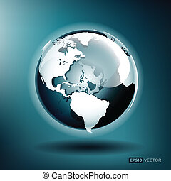 Vector illustriert einen Globus auf blauem Hintergrund