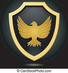 Vector illustriert goldene Schilde auf einem schwarzen Hintergrund mit einem Adler