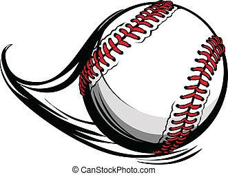 Vector illustriert Softball oder Baseball mit Bewegungsbewegungslinien