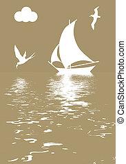 Vector Illustriertes Segelboot im Ozean