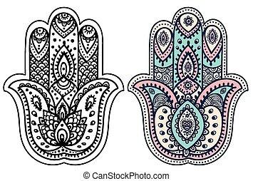Vector Indian Hand zog Schinkensa mit Ornamenten.