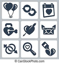 Vector isolierte Liebessymbole gesetzt: Balonen, Sprachblasen, Valentinstag, Schloss, Herz und Pfeil, Liebesbrief, Geschlechtersymbol, Suche, gebrochenes Herz.