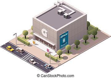 Vector isometrische Gadget-Shop.