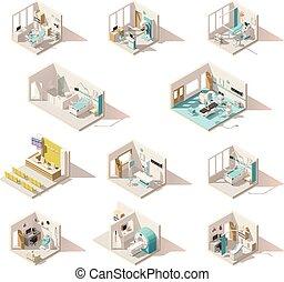 Vector isometrische Niedrigpoly-Krankenzimmer.
