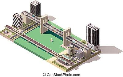 Vector isometrische Stadtkarte.