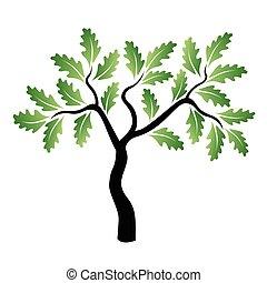 Vector junger grüner Eichenbaum.