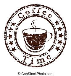 Vector Kaffeezeit-Grungstempel mit einer Tasse