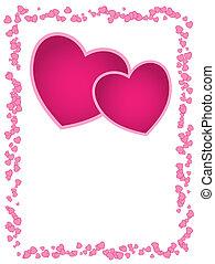Vector-Karte mit rosa Herzen und leerem Raum für Begrüßung, Hochzeit, Hochzeitstag oder Valentinstag.