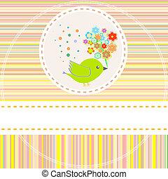 Vector-Karte mit süßen Vogelblumen