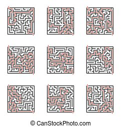 Vector Labyrinth Illustration mit Lösung.