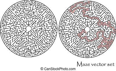 Vector Labyrinth mit einer Lösung.