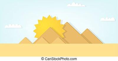 Vector Landschaft mit den ägyptischen Pyramiden.