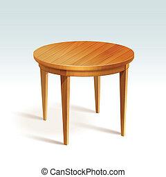 Vector leerer runder Holztisch.