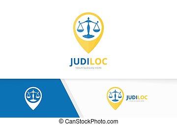Vector libra und map pointer logokombination. Scales and gps locator symbol or icon. Unique legal et pin logotype design template.