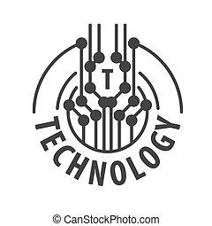 Vector Logo abstrakte Chiptechnologie.