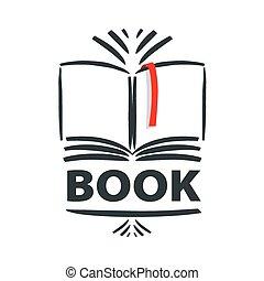 Vector Logo-Buch und rotes Lesezeichen.