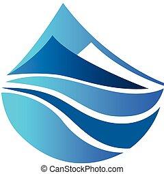 Vector Logo der blauen Berge Ikone.
