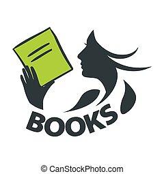 Vector Logo-Mädchen liest ein Buch.