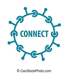 Vector Logo runder Chip Netzwerk.