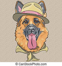 Vector lustiger Karikatur-Hipsterhund Deutscher Schäfer.