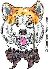 Vector lustiger Karikaturen-Hipster Hund Akita Inu.
