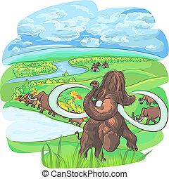 Vector Mammuts in einer Landschaft mit einem Fluss.