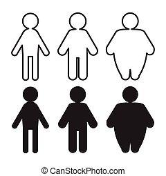 Vector Menschen Piktogramme mit dünner bis fetter Transformation