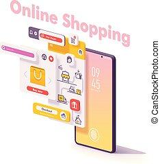 Vector mobile Online Shopping App Konzept