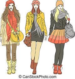 Vector-Moden, elegante Mädchen in warmen Kleidern