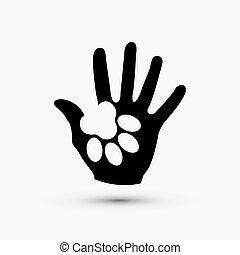 Vector moderne Pfote halten Hand schwarz Icon auf weiß.