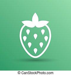 Vector monochrome Illustration von Erdbeeren Logo-Food.