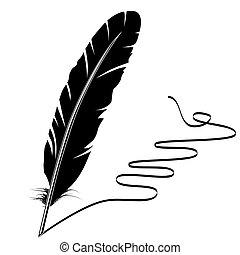 Vector Monochrome schreibt alte Federn und blühe