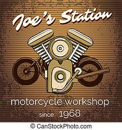 Vector Motorrad-Reparaturshop-Poster.