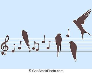 Vector Musiknotizen und Vögel