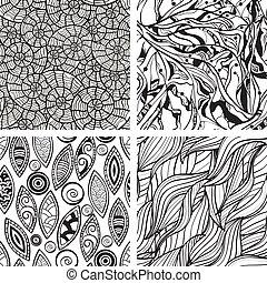 Vector nahtlos abstrakte Hand zeichnete Monochromemuster